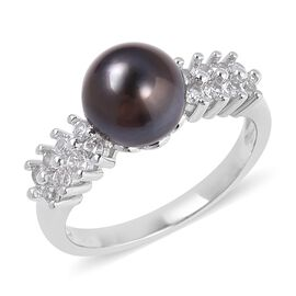 Tahitian Pearl and White Topaz Cluster Ring in Rhodium Plated Silver