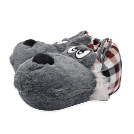 Super Soft Faux Fur Animal Slippers - Grey and Multi