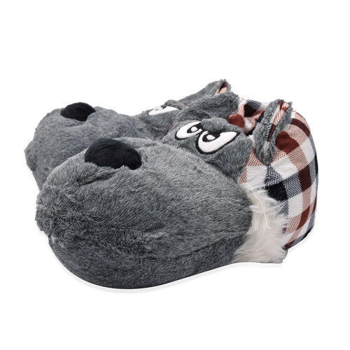 Super Soft Faux Fur Animal Slippers (Size 5-6) - Grey and Multi