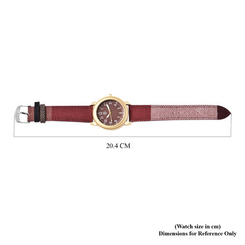 STRADA Japanese Movement Watch with Red Strap and Gold Tone Dial