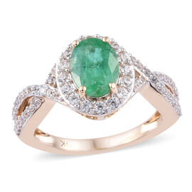9K Yellow Gold AA Kagem Zambian Emerald (Ovl), Natural Cambodian Zircon Ring (Size Q) 1.750 Ct.
