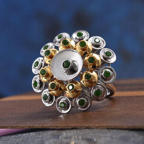 GP - Russian Diopside (Rnd), Blue Sapphire Ring in Platinum and Yellow Gold Overlay Silver wt 9.50 Gms