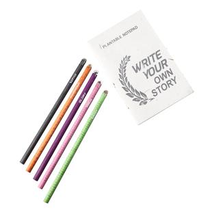 Plantable Stationary Box (1 Notepad + 5 Seed Colour Pencils) (Long)