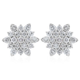 9K White Gold SGL Certified White Diamond (I3/G-H) Cluster Earrings (with Push Back) 0.50 Ct.