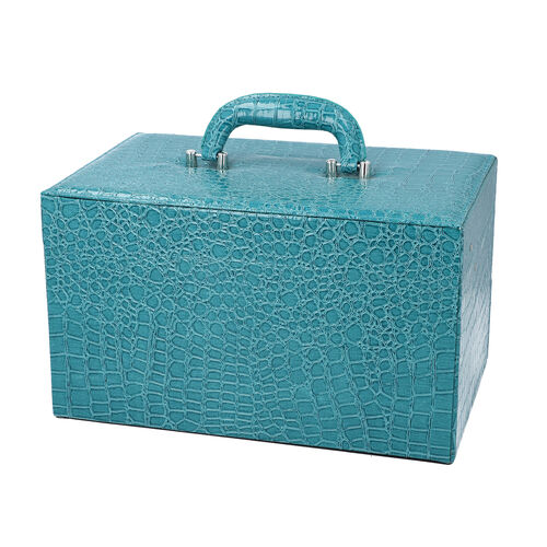 Three Layer Crocodile Skin Pattern Jewellery Box with Inside Mirror and Coded Lock (Size 33x21x19cm) - Teal