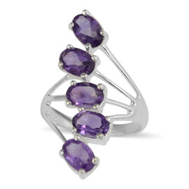 AA Amethyst (Ovl) Crossover Ring in Sterling Silver 2.10 Ct.