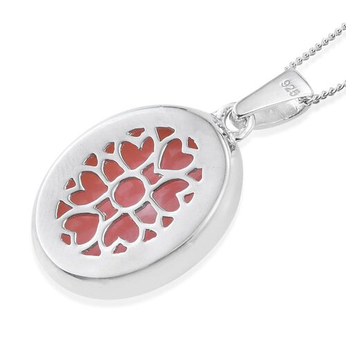 Natural Peruvian Pink Opal (Ovl) Solitaire Pendant With Chain in Platinum Overlay Sterling Silver 7.000 Ct.