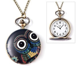 STRADA Japanese Movement Owl Pattern Water Resistant Pocket Watch with Chain (Size 31) in Bronze Pla
