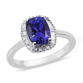 RHAPSODY 2 Carat AAAA Tanzanite and Diamond Halo Ring in 950 Platinum VS EF
