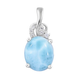 5.25 Ct Larimar and Cambodian Zircon Drop Pendant in Platinum Plated Sterling Silver