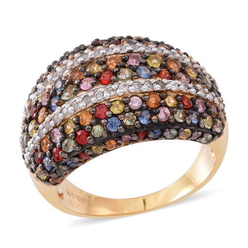Rainbow Sapphire (Rnd), Natural White Cambodian Zircon Ring in Rhodium and Yellow Gold Overlay Sterl