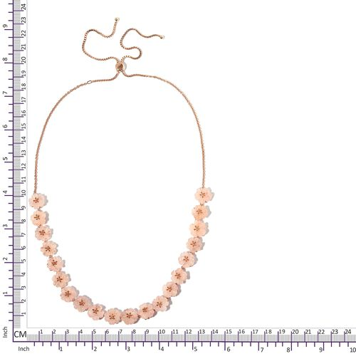 Jardin Collection-Extremely Rare Hand Carved Marropino Morganite Floral Necklace (Size 18 - 26) in Rose Gold Sterling Silver 93.500 Ct, Silver wt 12.20 Gms.