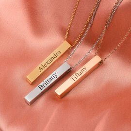 Personalise Engravable Bar Pendant with 20Inch Chain in Silver