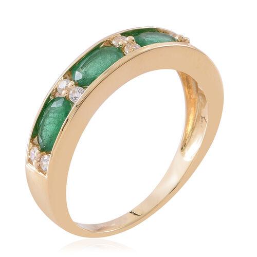 9K Yellow Gold AA Kagem Zambian Emerald (Ovl), Natural White Cambodian Zircon Ring 2.000 Ct.