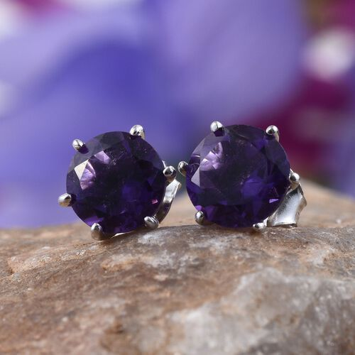 AA Lusaka Amethyst (Rnd) Stud Earrings (with Push Back) in Platinum Overlay Sterling Silver 2.500 Ct.