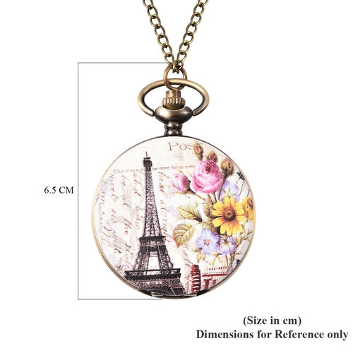 STRADA Japanese Movement Eiffel Tower Pattern Pocket Watch with Chain (Size 31) in Antique Bronze Tone