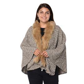 Soft Winter Free Size Kimono with Faux Fur Collar (L-85 Cm) - Khaki, Black and White Mix
