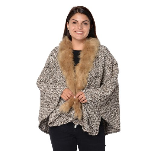 Soft Winter Free Size Kimono with Faux Fur Collar (L-85 Cm) - Khaki, Black and White Mix
