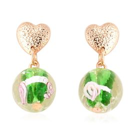 Green Murano Glass Earrings (with Push Back) in Gold Tone