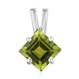 9K White Gold Hebei Peridot (Sqr) Solitaire Pendant 1.700 Ct.