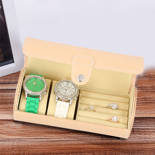 Unique Roll Style Watch and Jewellery Storage Box (Size 9x19.5cm) - Peach