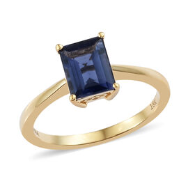 ILIANA 18K Yellow Gold AAA Iolite (Bgt) Solitaire Ring 1.250 Ct.