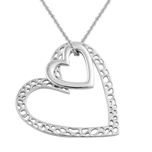 RACHEL GALLEY Rhodium Plated Sterling Silver Heart Pendant With Chain ( 30 Inch) , Silver wt 12.30 Gms.