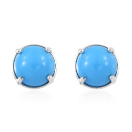 ILIANA 3.7 Ct Arizona Sleeping Beauty Turquoise Solitaire Stud Earrings in 18K White Gold 1.53 Grams