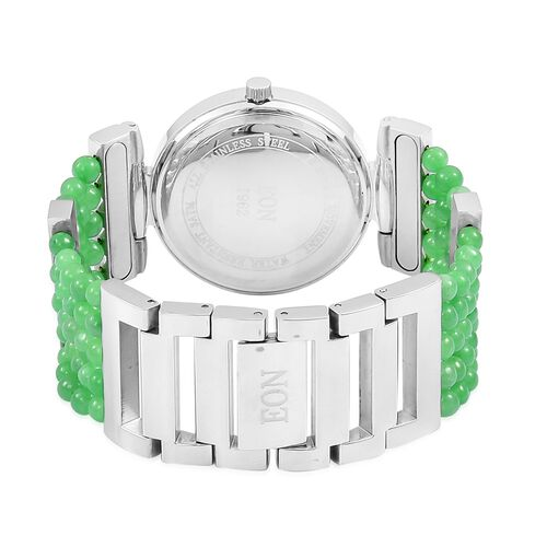 EON 1962 Swiss Movement Diamond Studded MOP Dial Watch with Simulated White Diamond in Silver Plated with Burmese Green Jade Strap 52.360 Ct.