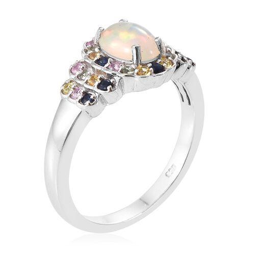 Ethiopian Welo Opal (Ovl), Kanchanaburi Blue Sapphire, Orange Sapphire, Pink Sapphire and Green Sapphire Ring in Platinum Overlay Sterling Silver 1.250 Ct.