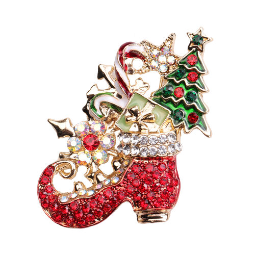 Set of 2 -  Multi Colour Austrian Crystal Enamelled Christmas Theme - Snowflake and Santa Boot Brooch