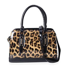 HONG KONG CLOSE OUT- Chocolate and Black Colour Leopard Pattern Handbag with Adjustable and Removabl