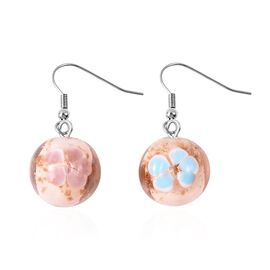 Pink Colour Murano Glass Drop Hook Earrings in Stainless Steel