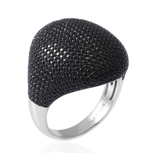 Cocktail Collection- Pave Set Boi Ploi Black Spinel (Rnd) Cluster Ring in Rhodium Overlay Sterling Silver 6.410 Ct, Silver wt 8.40 Gms, Number of Gemstone 641