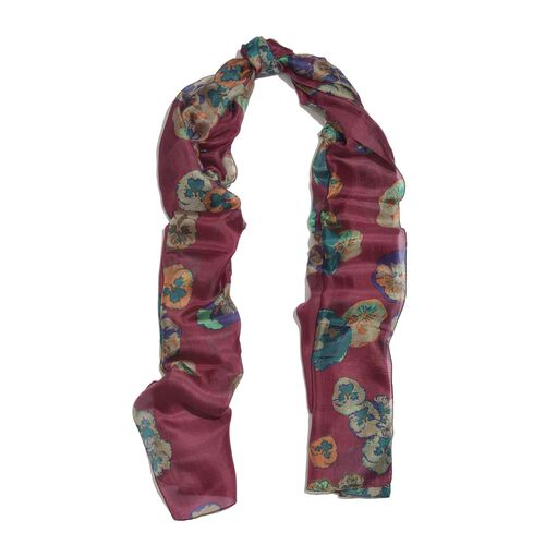100% Mulberry Silk Wine Red, Purple, Blue and Multi Colour Handscreen Floral Printed Scarf (Size 180X100 Cm)