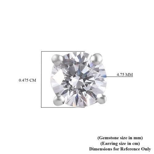 J Francis Swarovski Zirconia Platinum Overlay Sterling Silver Stud Earrings (with Push Back) 1.00 Ct.