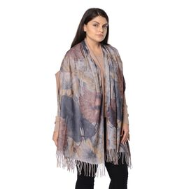 Winter Reversible Digital Printed Lotus Pattern Scarf with Tassel (Size 70x180 Cm) - Khaki and Multi