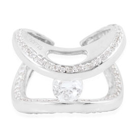 ELANZA Simulated Diamond (Rnd) Ring in Rhodium Plated Sterling Silver