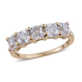 J Francis Made with Swarovski Zirconia 5 Stone Ring in 9K Gold 1.66 Grams