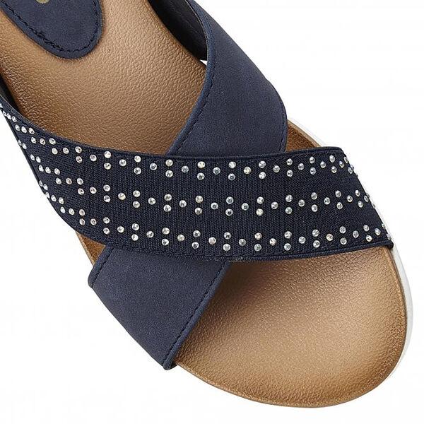 Lotus Navy Sharon Flat Mule Sandals (Size 5)