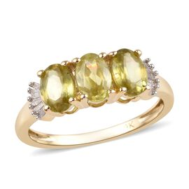 1.75 Ct AA Sava Sphene and Diamond Trilogy Ring in 9K Gold
