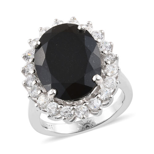 Black Tourmaline (Ovl 16x12 mm, 9.35 Ct), Natural Cambodian Zircon Sunburst Ring in Platinum Overlay