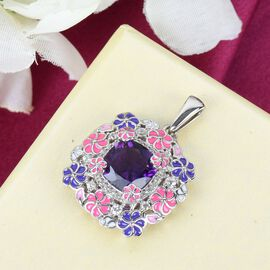 GP Italian Garden Leaf & Flower Collection - Lusaka Amethyst, Natural Cambodian Zircon and Multi Gemstone Enamelled Pendant in Platinum Overlay Sterling Silver 4.21 Ct