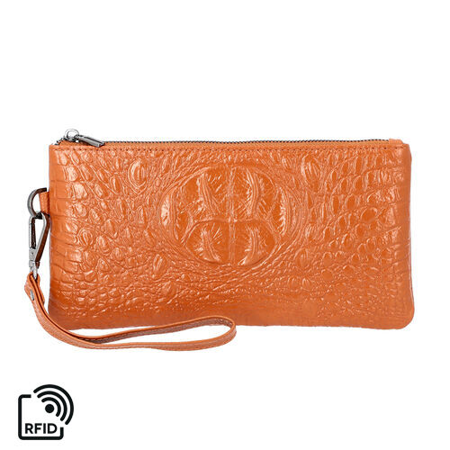 100% Genuine Leather RFID Protected Croc Embossed Wristlet (Size 20x10 Cm) - Tan
