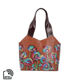 SUKRITI 100% Genuine Leather RFID Protected Floral Tote Bag (Size 23.5x29.5x10.5cm) - Burgundy