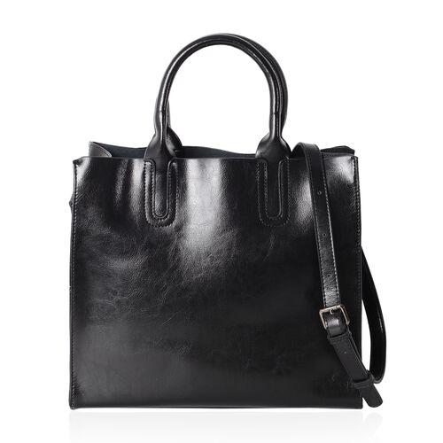 Close Out Deal - 100% Genuine Leather Black Colour Tote Bag with Removable Shoulder Strap (Size 32x28x13x12.5 Cm)