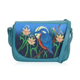 100% Genuine Leather RFID Protected Hand Painted Humming Bird at Night Crossbody Bag (Size 28.5x20.5