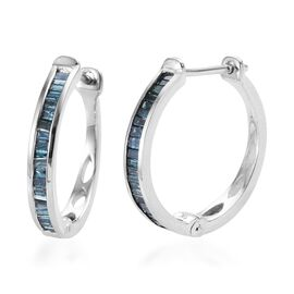 9K White Gold Blue Diamond (Bgt) Hoop Earrings (with Clasp) 0.500 Ct.