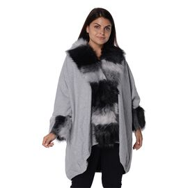 Winter Coat with Faux Fur Collar and Sleeves (Free Size/L-82 Cm) -  Grey and Black