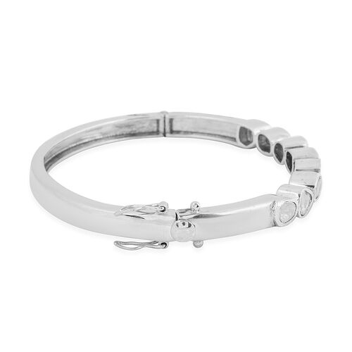 Close Out Deal Polki Diamond Bangle (Size 7) in Platinum Overlay Sterling Silver 2.00 Ct.